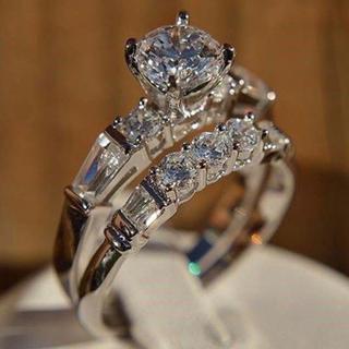 AAAランク ダイヤモンドcz リング 指輪 2本セット(リング(指輪))