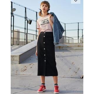 ジーユー(GU)のリブフロントボタンナローミディスカート XS(ひざ丈スカート)