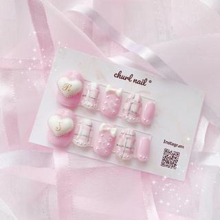 パステルピンク × ぷっくりハート 量産型 ♥ネイルチップ