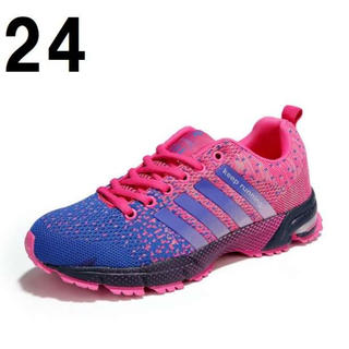 24 ピンク 青 レディース ランニング ウォーキング シューズ スニーカー(スニーカー)