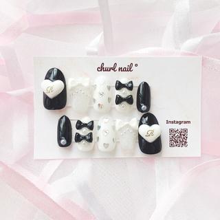 ブラック × ホワイト リボン 量産型 ♥ネイルチップ
