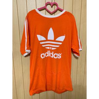 アディダス(adidas)のadidas オレンジ ライン Tシャツ 古着(Tシャツ(半袖/袖なし))