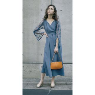 Ameri VINTAGE - LACE SLEEVE REFINED DRESS アメリ 19SS ブルー