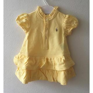 Ralph Lauren - 新品★ラルフローレン♪ 襟&裾フリルワンピース 黄色 3M60