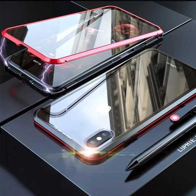 iphonex ケース 最強 / マグネット 装着 iPhone XR ガラスケース アルミフレーム 赤 黒の通販 by coco's shop|ラクマ
