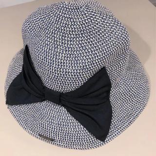 0e11acd589705e 麦わら帽子 ペーパーハット つば広ハット UV ネイビー杢 (麦わら帽子/ストローハット