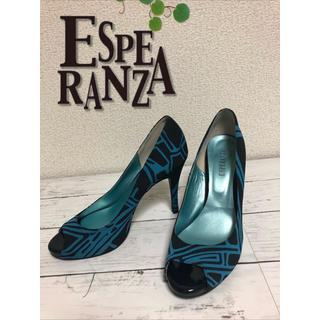 エスペランサ(ESPERANZA)の美品#エスペランサ ESPERANZA パンプス 23.5 ブラック×ブルー(ハイヒール/パンプス)