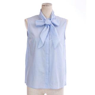 ドゥロワー(Drawer)のobli リボン ストライプシャツ(シャツ/ブラウス(半袖/袖なし))