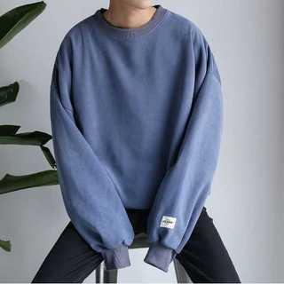 【残りわずか】ビックシルエット 韓流 人気 無地  ブルー スウェット XL(スウェット)