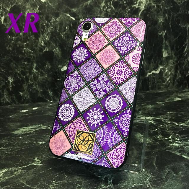 アイフォンXR iPhoneXRケース☆格子柄☆パープル☆送料無料の通販 by ロゴ's shop|ラクマ