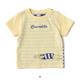 プティマイン(petit main)のプティマイン ワニアップリケ後ろボーダーTシャツ(Tシャツ/カットソー)