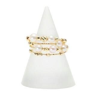 ジュペレ 18K 国産ベビーアコヤパール&シャイニーカットパーツ ぐるぐるリング(リング(指輪))