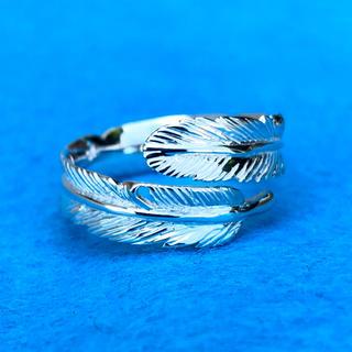 シルバー925 フェザー リング 美しい ホワイト 仕上げ リング 新品(リング(指輪))