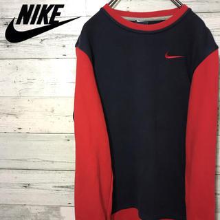 ナイキ(NIKE)の【激レア】ナイキ Nike☆紺タグ 刺繍ワンポイントロゴ バイカラー スウェット(スウェット)
