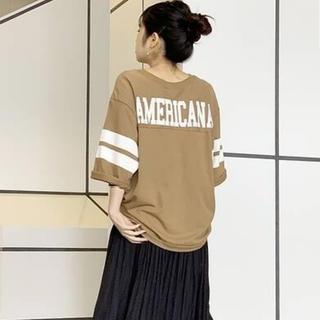 DEUXIEME CLASSE - 新品未使用 AMERICANA ボーイフレンド フットボールTシャツ キャメル