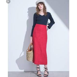 Mila Owen - パッチポケットリネンタイトスカート 赤 0サイズ