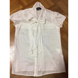 クードシャンス(COUP DE CHANCE)のリボンブラウス 白(シャツ/ブラウス(半袖/袖なし))