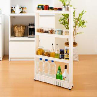 プラスチックキッチン収納ワゴン 4段 幅11.5cm 隙間収納 スマートワゴン