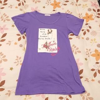Tシャツ 紫 パープル 丈長め ワンピース(Tシャツ(半袖/袖なし))