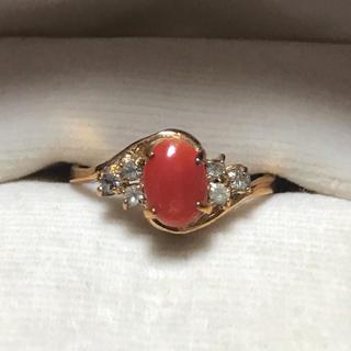【K18】赤珊瑚 ダイヤモンドリング(リング(指輪))