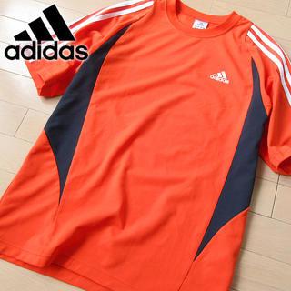 アディダス(adidas)の美品 Lサイズ アディダス メンズ 半袖Tシャツ オレンジ(Tシャツ/カットソー(半袖/袖なし))