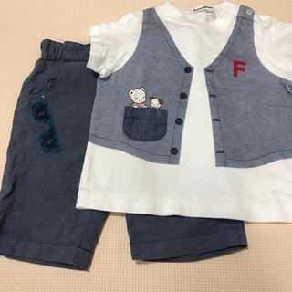 familiar - ファミリア 90 パンツ Tシャツ セット だまし絵