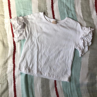 petit main - 美品 プティマイン 袖フリルトップス 110cm