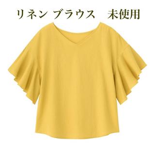 ジーユー(GU)のGU リネン フレアブラウス タグ付き(シャツ/ブラウス(半袖/袖なし))