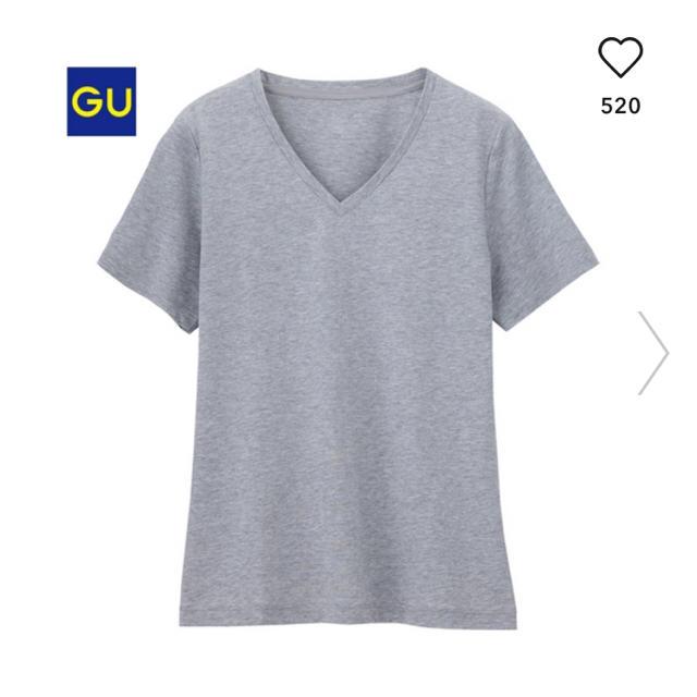 GU(ジーユー)のGU ジーユー マーセライズドVネックTシャツ M グレー Vネック レディースのトップス(Tシャツ(半袖/袖なし))の商品写真