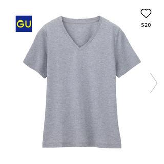 ジーユー(GU)のGU ジーユー マーセライズドVネックTシャツ M グレー Vネック(Tシャツ(半袖/袖なし))