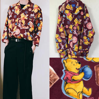 Disney - 90's Disny pooh 熊のプーさん 総柄 セットアップ パジャマシャツ