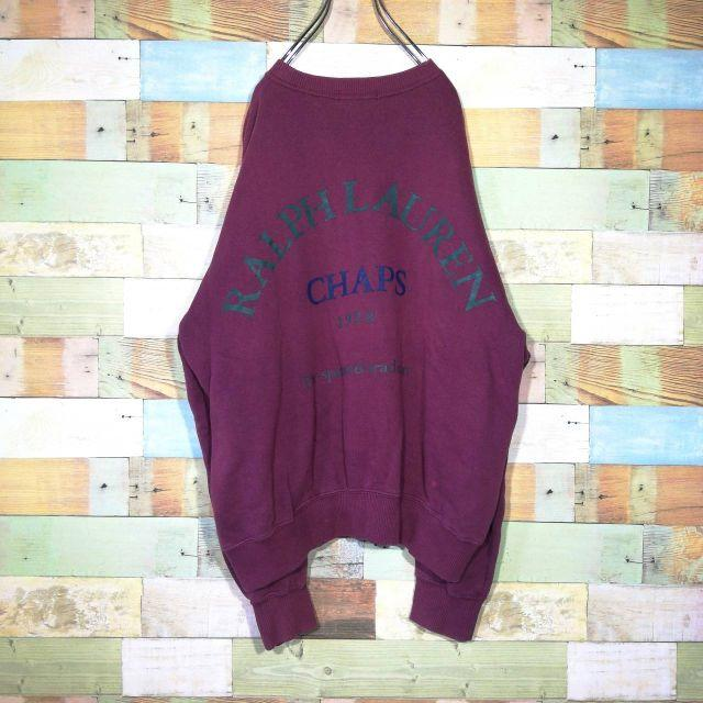 CHAPS(チャップス)の【激レア】古着 チャップス☆刺繍ロゴ ビッグロゴプリントワインレッド スウェット メンズのトップス(スウェット)の商品写真