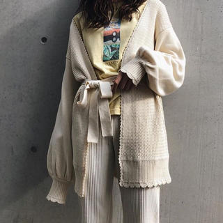 moussy - moussy trim end knitカーディガン