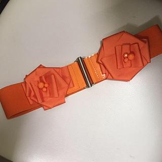 オレンジ 立体フラワーベルト(ベルト)