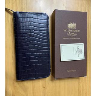 WHITEHOUSE COX - ホワイトハウスコックス クロコ型押し 長財布 ネイビー  ラウンドジップファスナ