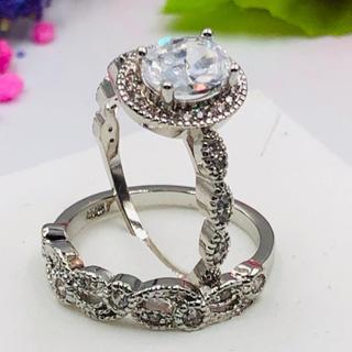 ☆11号スターリングダブル/ホワイトCZダイヤモンドリング2個セット(リング(指輪))