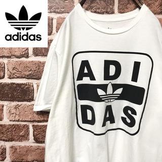 アディダス(adidas)の【激レア】アディダス ビッグロゴトレフォイル珍しいデザイン人気の黒白半袖Tシャツ(Tシャツ/カットソー(半袖/袖なし))