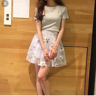 ダズリン(dazzlin)のdazzlin 花柄オーガンジースカート(ミニスカート)