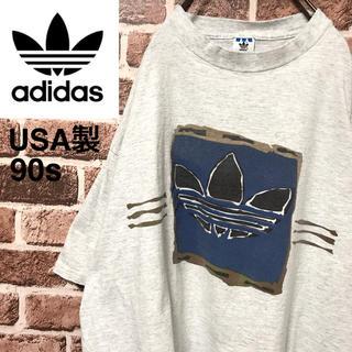 アディダス(adidas)の【激レア】アディダス入手困難USA製90s国旗タグビッグサイズロゴ 半袖Tシャツ(Tシャツ/カットソー(半袖/袖なし))