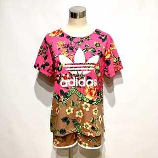 adidas - adidas アディダス 花柄 Tシャツ ショートパンツ セットアップ