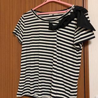 マーキュリーデュオ(MERCURYDUO)のボーダー 肩リボンTシャツ美品(Tシャツ(半袖/袖なし))