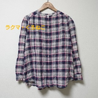 Hug O War - ハグオーワー cloth&cross バンドカラー チェックのシャツ ブラウス