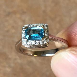 指輪 ブルートパーズ メレダイヤ K18WG(リング(指輪))