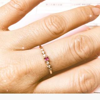 ノジェス(NOJESS)のルビー ダイヤモンドの華奢リング10K (リング(指輪))