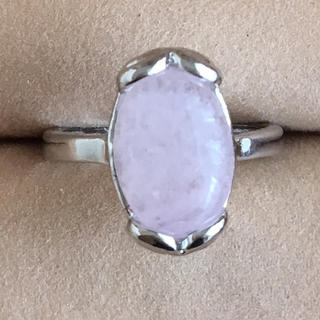 (107)大粒ローズクォーツリング シルバー ヴィンテージ(リング(指輪))