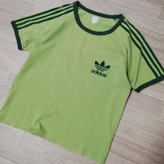 アディダス(adidas)のアディダス adidas フロッキープリント でかマーク トレフォイル Tシャツ(Tシャツ/カットソー(半袖/袖なし))