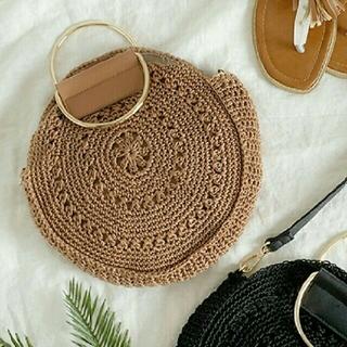 シマムラ(しまむら)のしまむら  かごバッグ  編みバッグ サークル  新品 ブルー(かごバッグ/ストローバッグ)