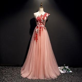 d102e61a8b64a ウエディングドレス ピンク ワンショルダー イブニングドレス ロングドレス エレ(ウェディングドレス)