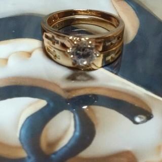 シャネル(CHANEL)のゴールドクロスリング(リング(指輪))
