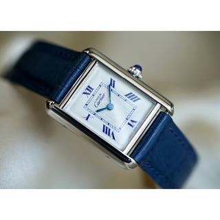カルティエ(Cartier)の美品 カルティエ マスト タンク シルバー ブルーインデックス SM(腕時計)
